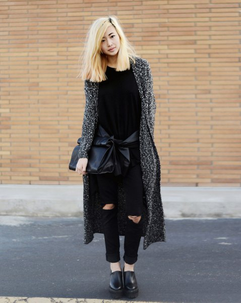 Heather gray maxi cardigan with black ripped skinny jeans