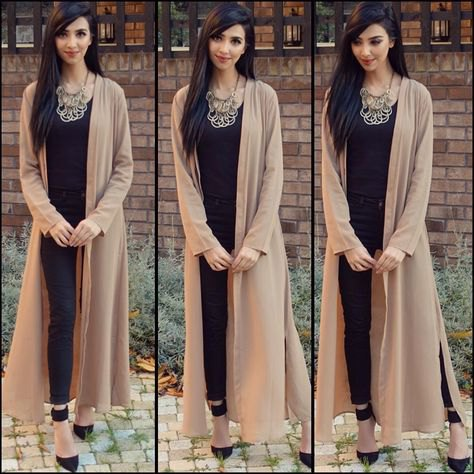 blush pink maxi cotton cardigan with black vest top and necklace