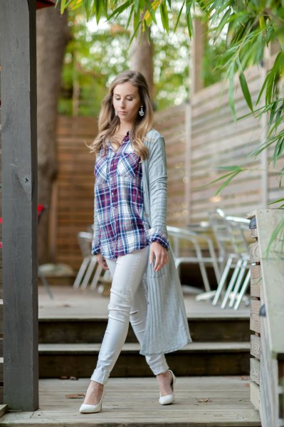 light gray ribbed dust shirt with blue and white checkered boyfriend shirt