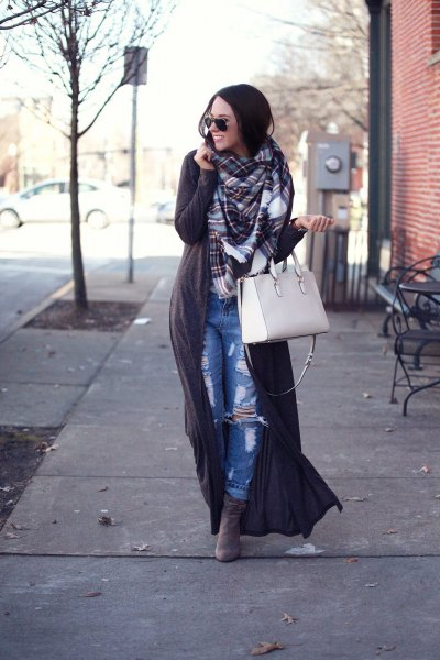 gray maxi sweater with plaid scarf and boyfriends