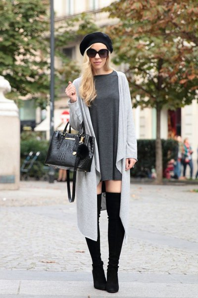 gray maxi duster sweater with mini shift dress