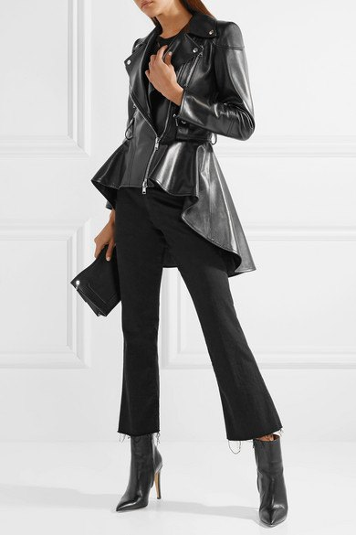 black high leather jacket with flared cropped chinos