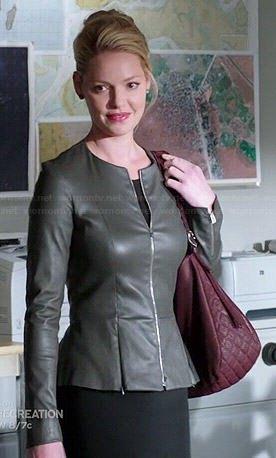 gray leather jacket with black waist dress