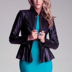 black jacket with teal belt bodycon midi dress