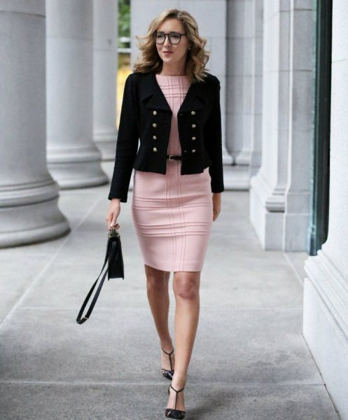 black military cropped blazer with checkered pink bodycon mini dress