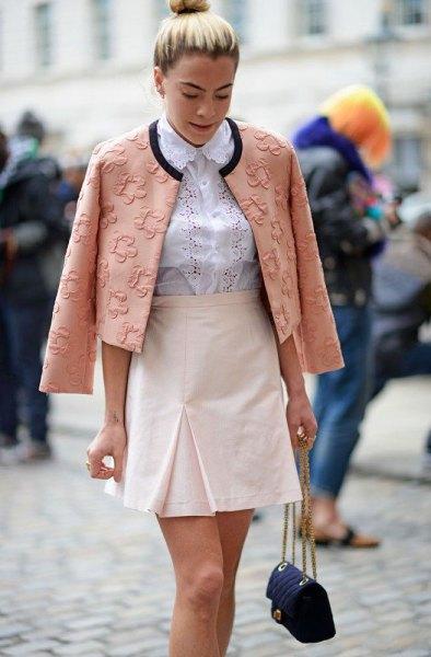 blush pink floral embroidered blazer with white high waist mini skirt