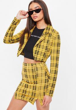yellow and black checkered cropped blazer with matching mini skirt