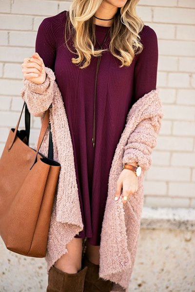 burgundy mini dress with gray knitted cardigan