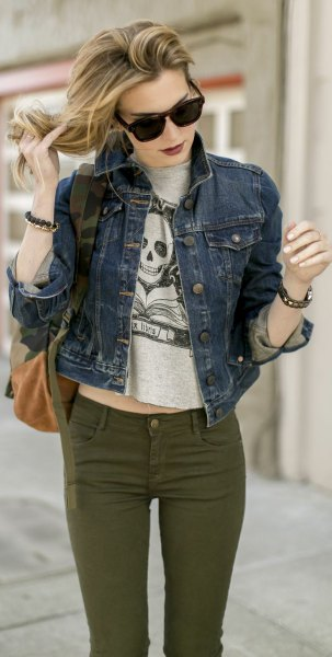 gray cropped print sweater with blue denim jacket