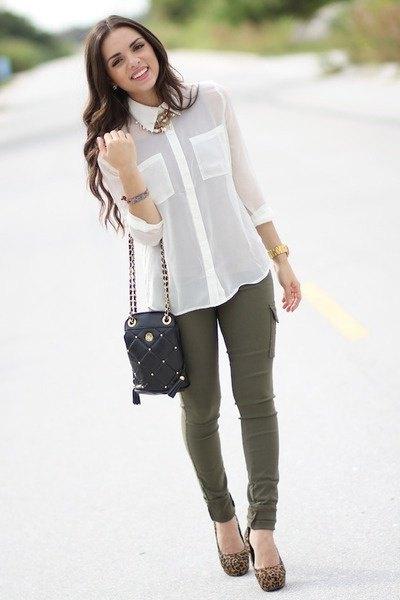 white chiffon button shirt with olive skinny jeans