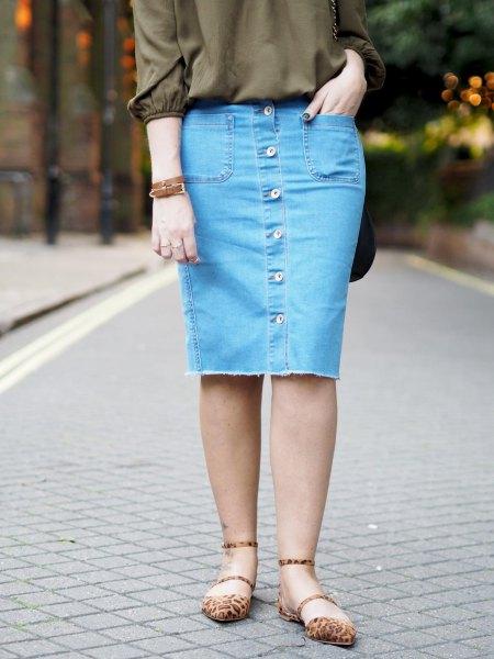 green buttonless blouse with blue denim button knit skirt