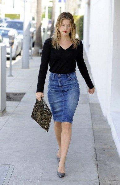 black long sleeved shirt with blue knee length bodycon denim skirt