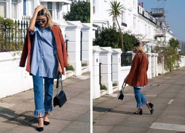 chambray shirt with brown corduroy blazer and fringed jeans