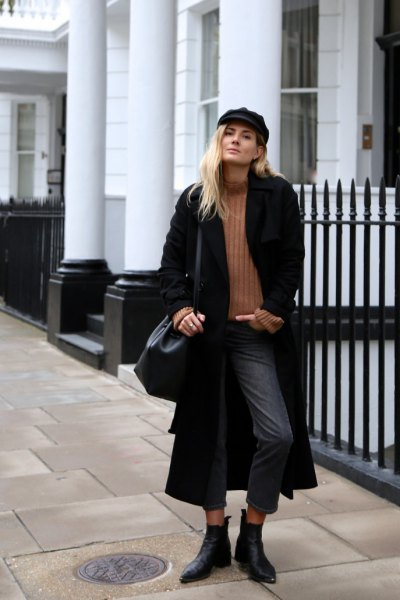 black maxi jacket with ribbed sweater with camel mock neck