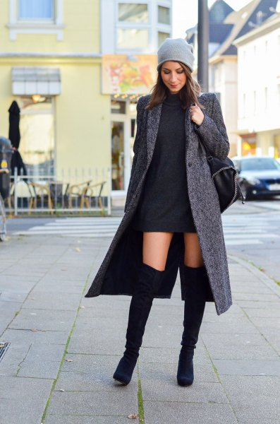 gray wool maxi jacket with black mini shift dress