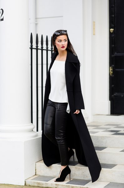 maxi jacket with white chiffon square top and leather leggings