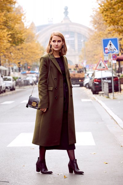 brown long wool coat with black maxi shift dress