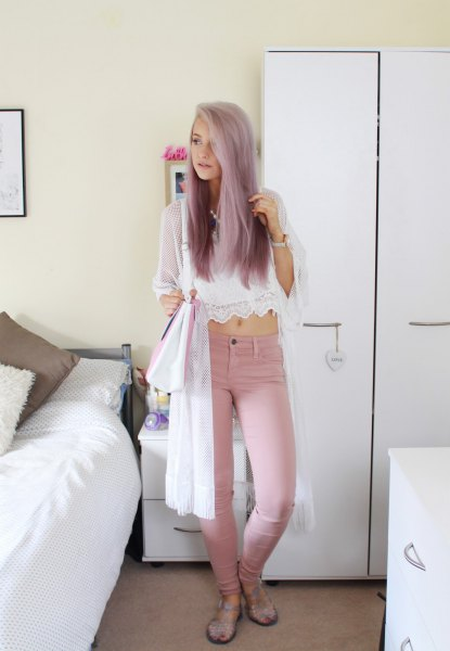 white chiffon and lace lace top with pink skinny jeans