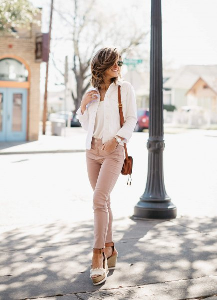 white denim jacket and nude platform heels