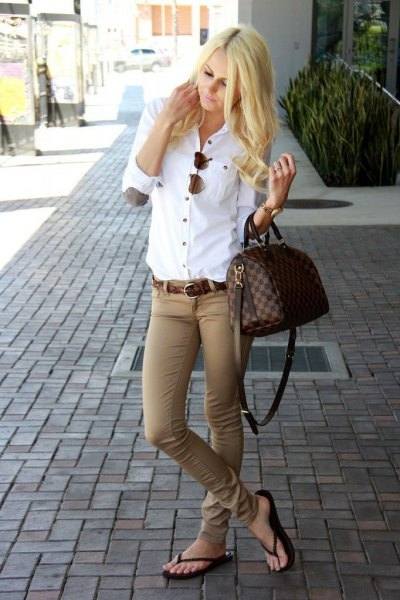 white elbow patch-up shirt with green khaki jeans