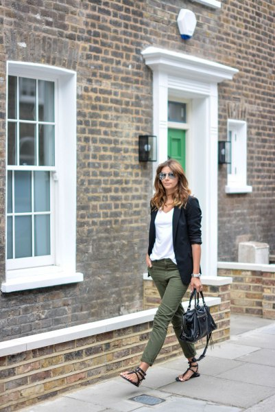 white chiffon t-shirt and black blazer