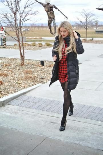 black long puffer skirt with red and black checkered mini dress