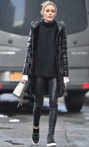 black long puffer skirt with comfortable sweater with suede and leather legs