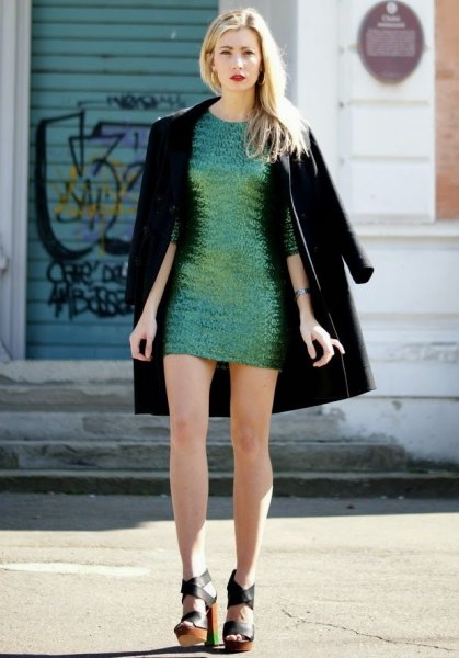 silver sequin mini dress with black long jacket