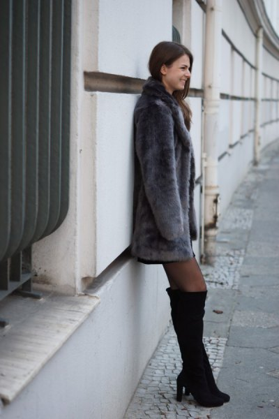 gray faux fur dress with black over the knee boots