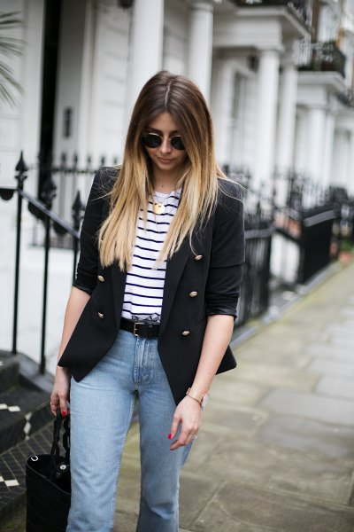 half-heated blazer with black and white striped t-shirt