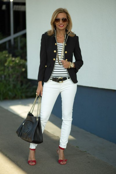 military blazer with striped tee and white skinny jeans