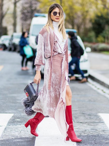 pink long-sleeved maxi dress with light gray sweater neck