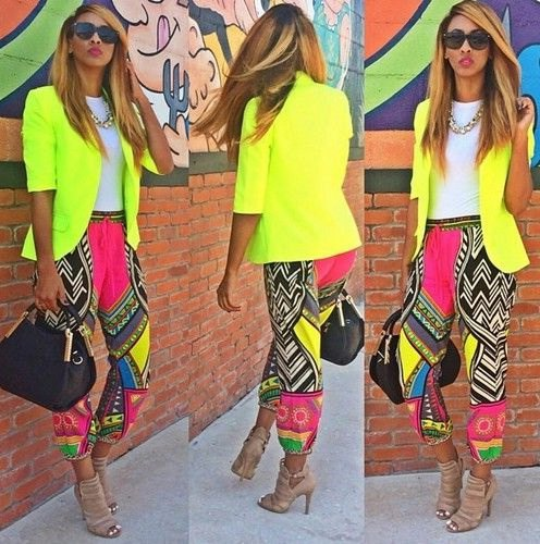 lemon yellow blazer with pink and black tights