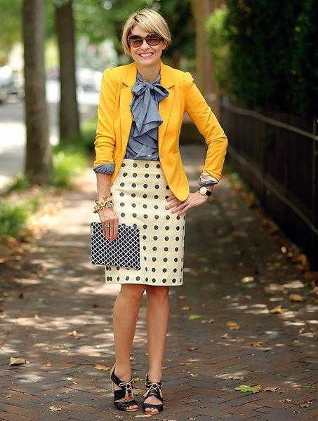 blue bow shirt and polka dot mini skirt
