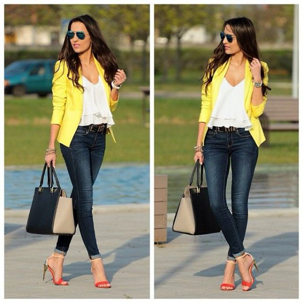white v-ruffle top with yellow jacket