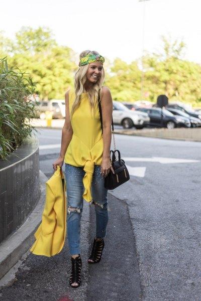 yellow sleeveless knit top with matching blazer