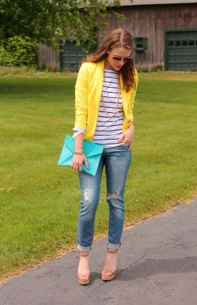 navy and white striped long sleeve tee with yellow blazer