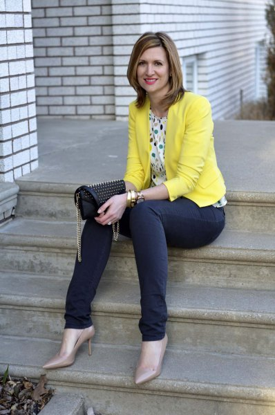 multicolor polka dot blouse and blue jeans