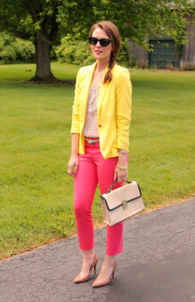 yellow blazer with hot pink ankle jeans