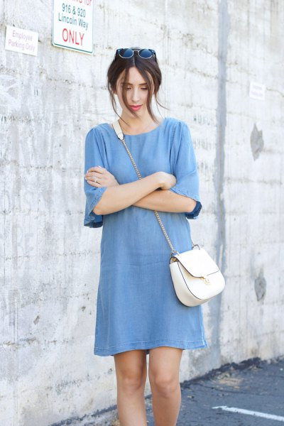 blue half-heated chambray shift mini dress