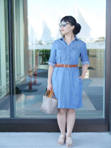 chambray belt shirt dress with gray leather handbag