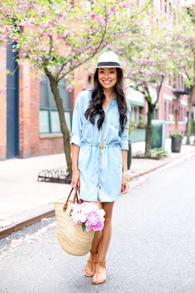 light blue shirt dress with white straw hat