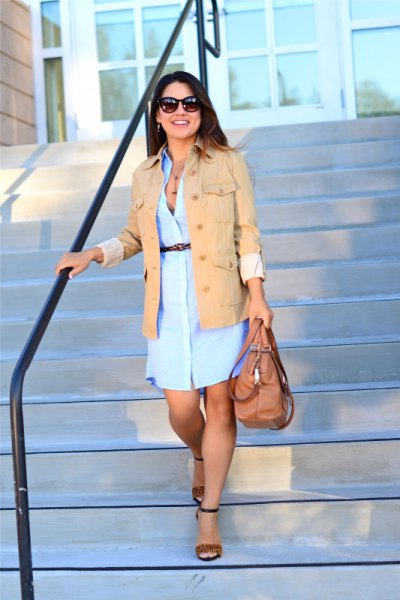 camel military jacket with light blue chambray dress
