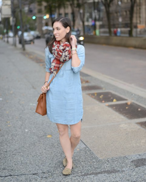 light blue mini dress with red and pink checkered scarf
