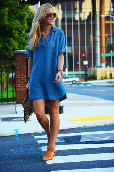 v-neck chambray shift mini dress with short boots in suede