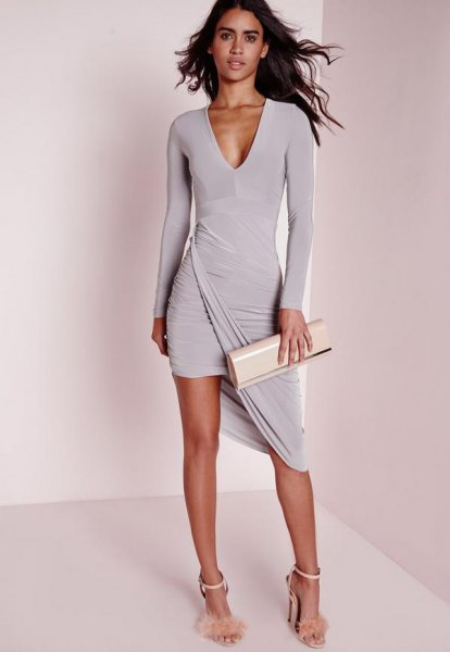 gray long sleeve high low mini wrap dress