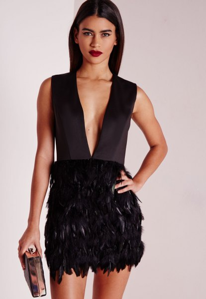 black deep v-neck feather mini dress