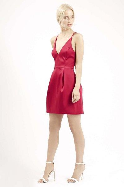 red silk mini skater running dress