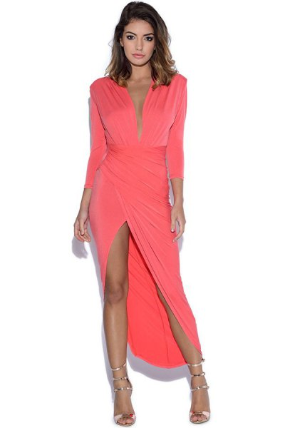 pink sleeveless step maxi wrap dress