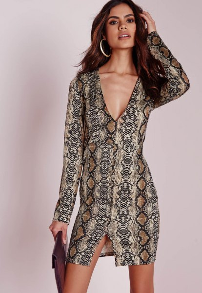 black and crepe tribal printed mini dress